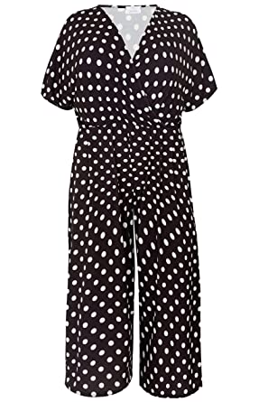 Yours Clothing Womens Plus Size London White Polka Dot Jumpsuit