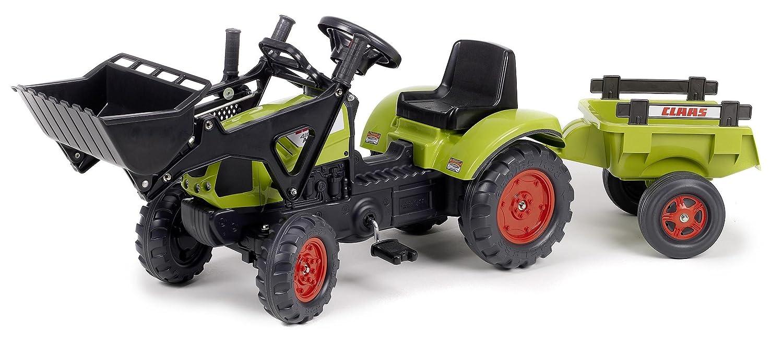 Falk CM Claas Arion Tractor de pala a pedales con remolque color