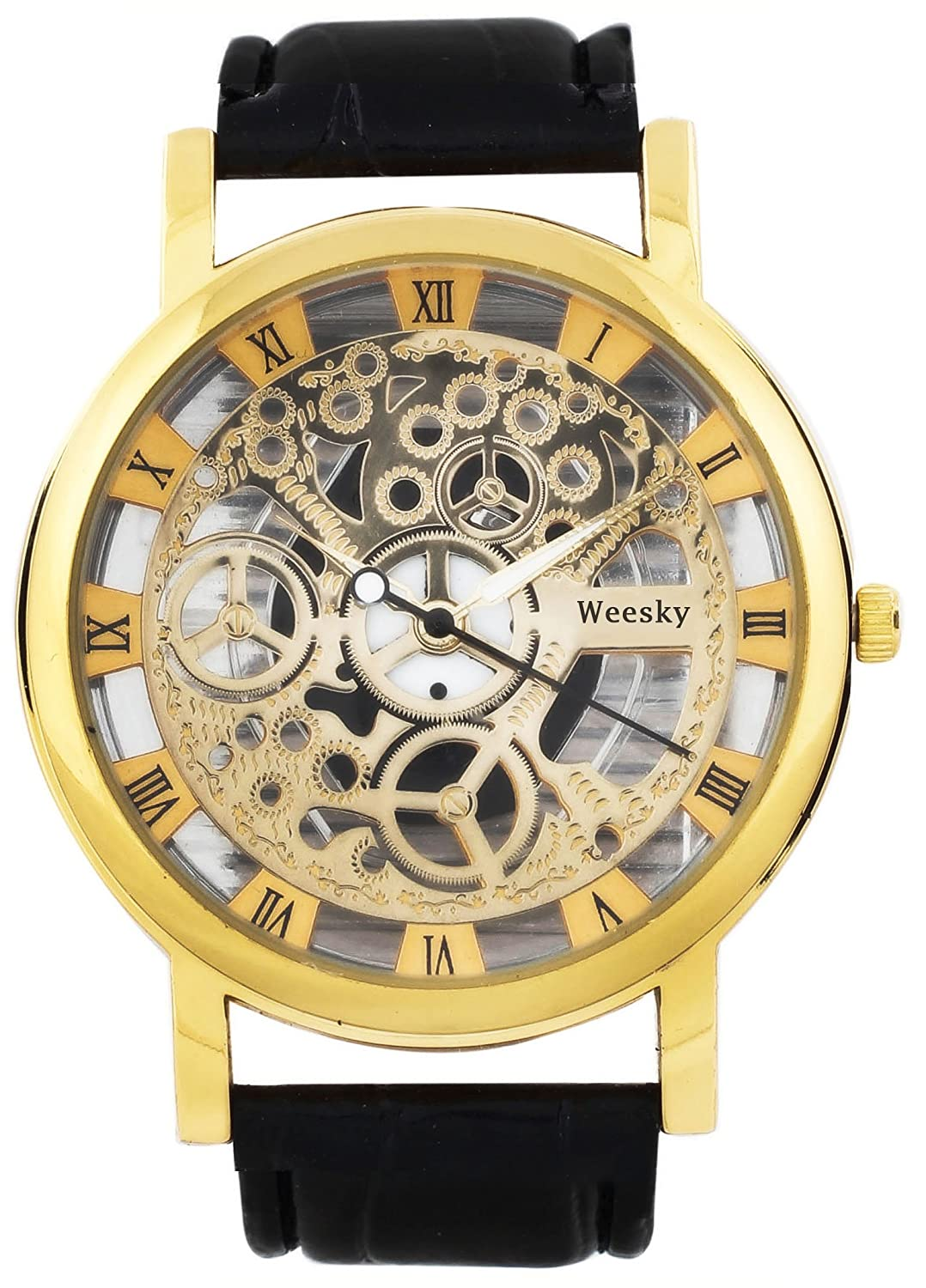 transparent mens case strap leather wrist gold watch party watches for men skeleton wear