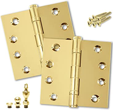 Heavy Duty Door Hinge Bronze Ball Bearing 3 x 3 Inch Solid Brass Heavy Duty with Free Decorative Screw-on Tips Included Oil-Rubbed Bronze Set of 2 Hinges