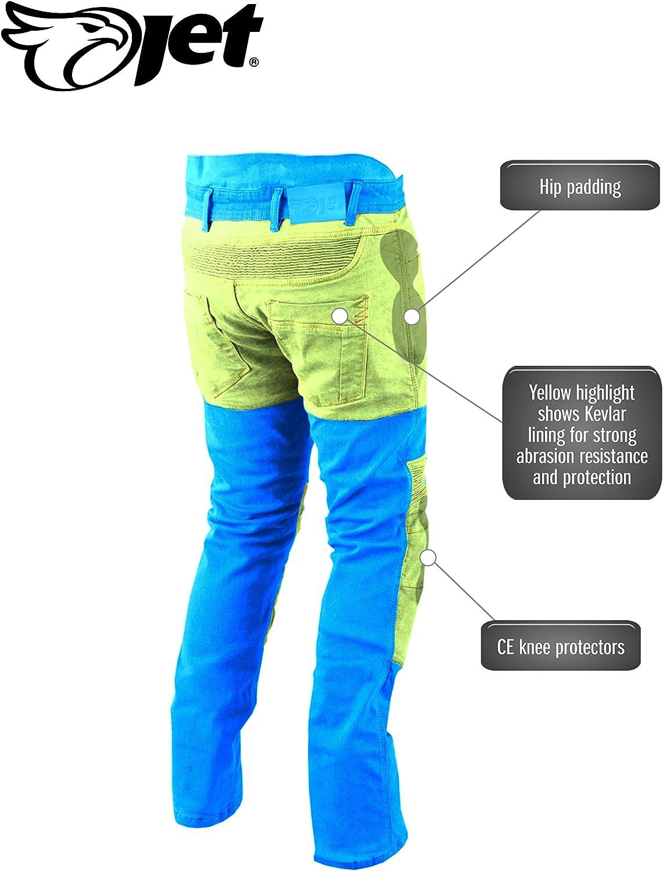 Bleu, UK W44 L34 // EU 60 Long Jet Pantalon Moto Homme Jeans Kevlar Aramid avec Armure Tech Pro