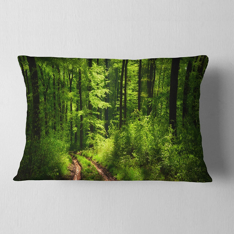 Sofa Throw Pillow 12 In Designart Cu11788 12 20 Fascinating Greenery In Wild Forest Lumbar Cushion