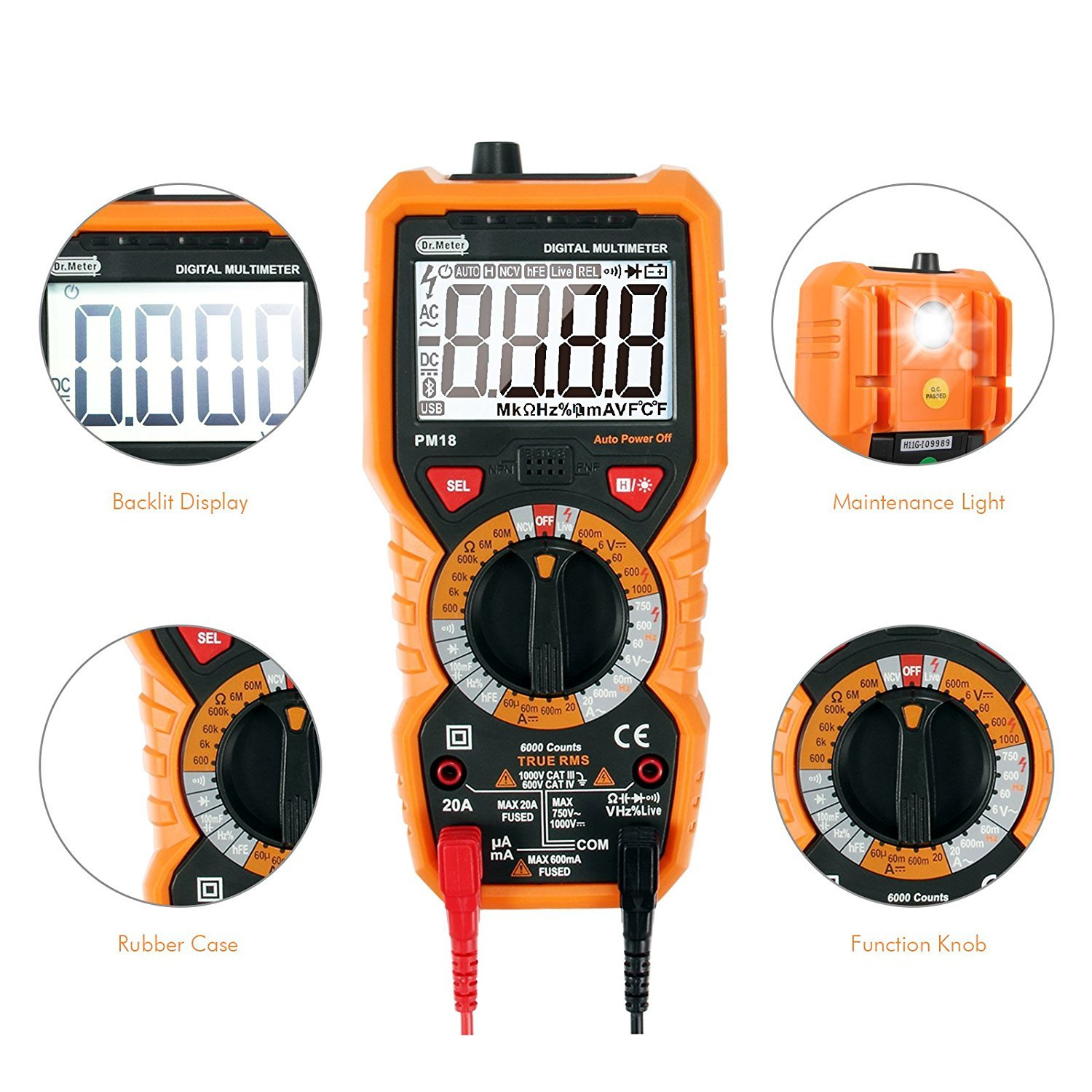 [Digital Multimeters] Dr.meter Digital Multimeter Trms 6000 Counts Tester Non-Contact Voltage Detection Multi Meter, PM18 by Dr.meter (Image #4)