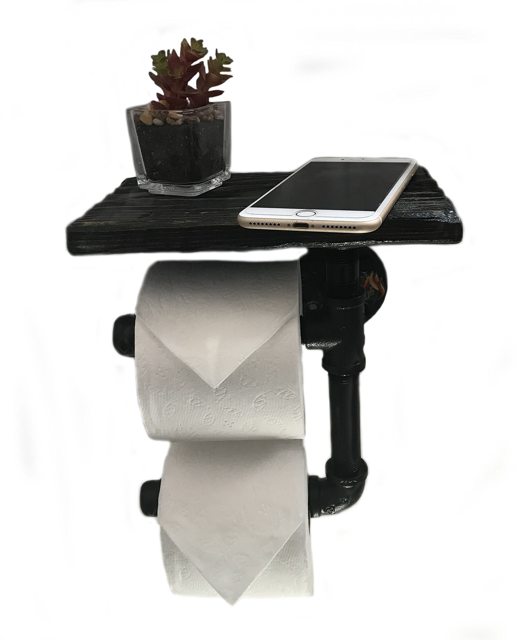 Toilet Paper Holder Shelf for Mobile Phone Storage in Bathroom with 5 Color Options (Dark Walnut) by Piping Hot Art Works (Image #1)