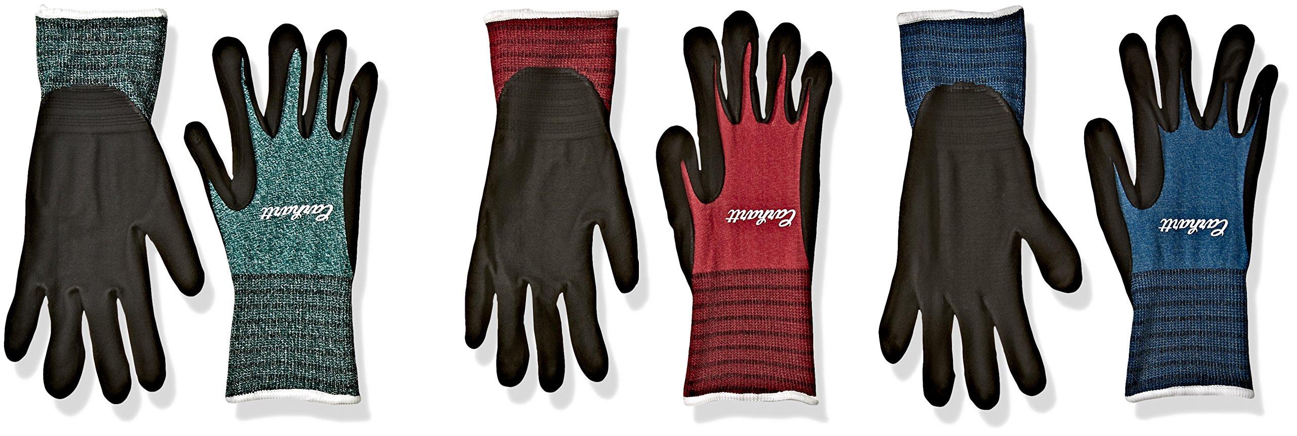Carhartt Women's All Purpose Nitrile Grip Work Glove (3-Pack), Blue, Emerald, Wild Pink, Medium by Carhartt
