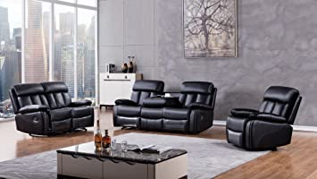 American Eagle Furniture 3 Piece Dunbar Collection Complete Faux Leather  Reclining Living Room Sofa Set,
