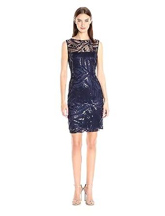 e1865716b60c Tahari by Arthur S. Levine Women's Sleevless Sequin Lace Sheath Dress, ...