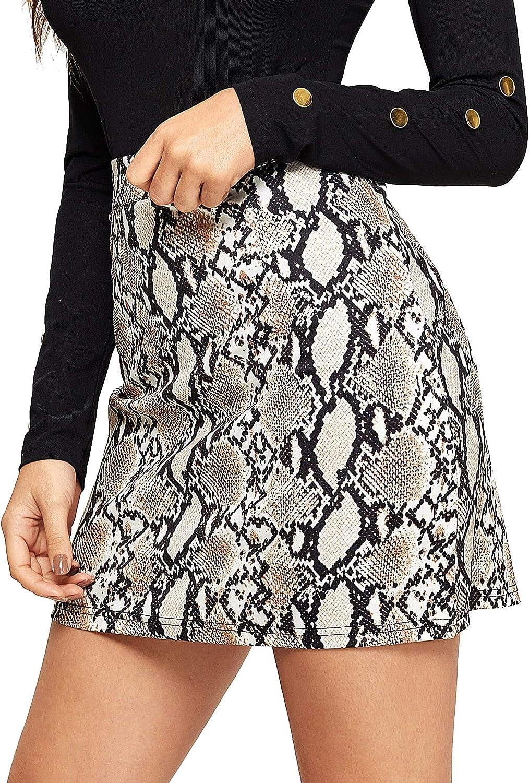WDIRARA Women's Fashion Snake Skin Print Mid Waist Zipper Above Knee Mini Skirt