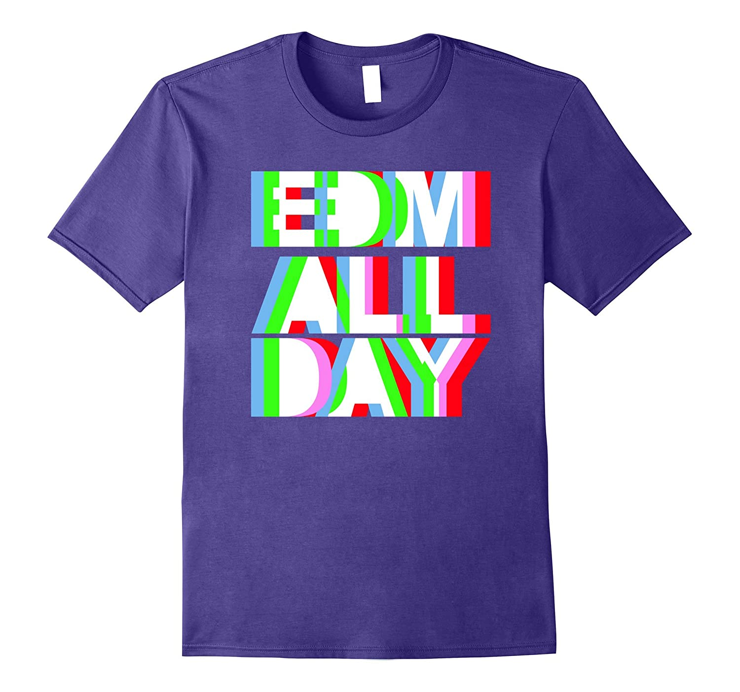 Cool EDM T-Shirt - Neon Anaglyph Style Rave Tee - White Ink-T-Shirt