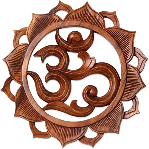 NOVICA Floral Om Meditation Wood Relief Wall Sculpture
