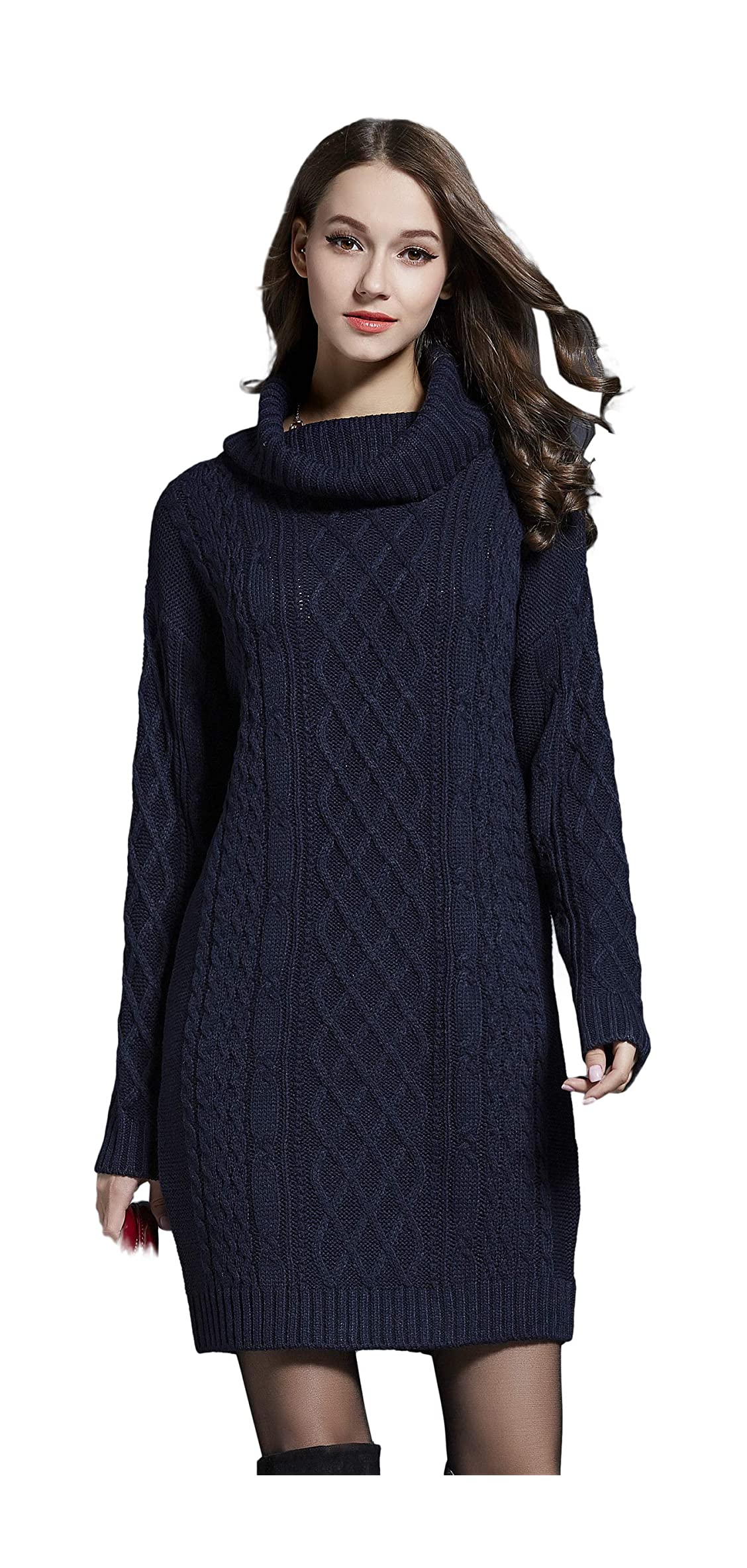Women's Long Sleeve Turtle Neck Cable Knit Midi Jumper