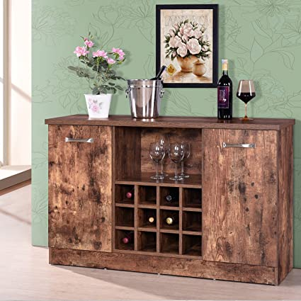 HarperBright Designs Buffet Server Sideboard Wine Cabinet Antique Rustic Wood Console Table With Rack