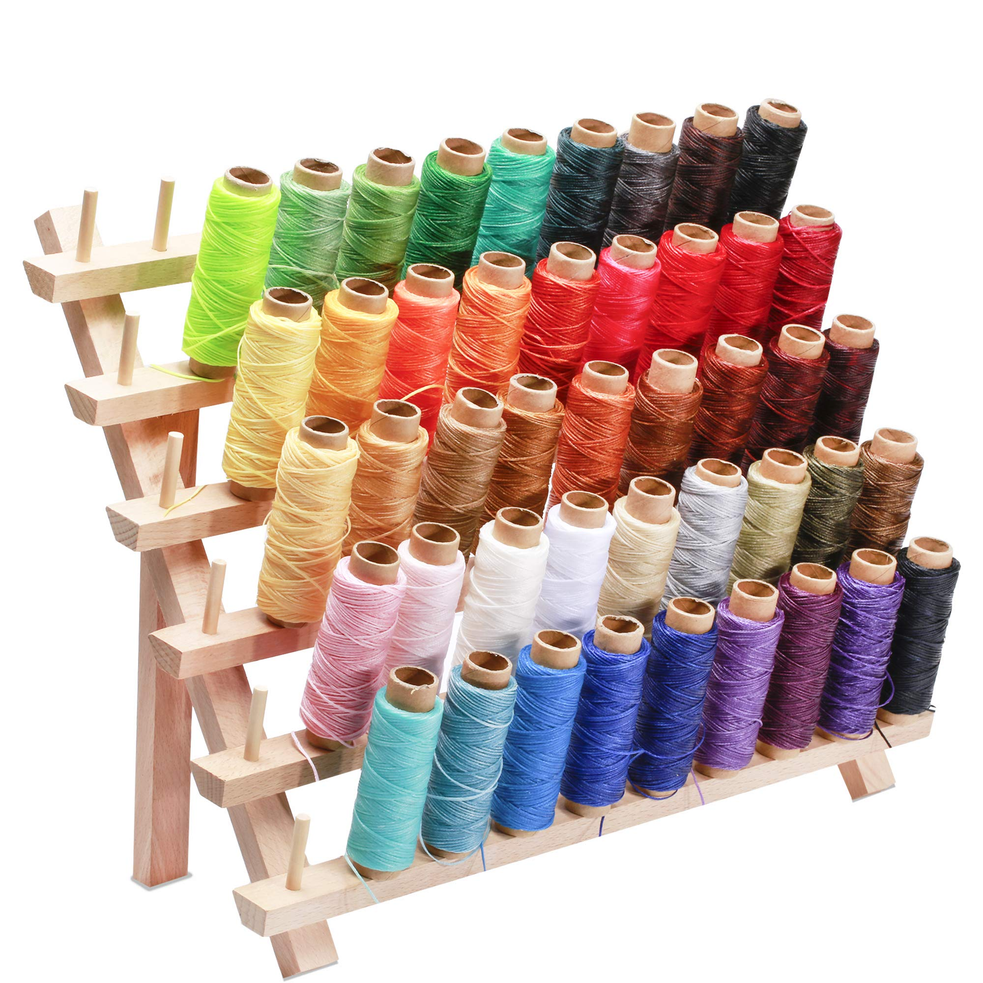 Jupean 46 Colors Leather Waxed Thread with Thread Holder,Thread for Leather Sewing Waxed Cord Thread and 60 Wooden Thread Rack Leather Sewing Waxed Thread Cord for Leather Craft DIY,Each of 55 Yards by Jupean