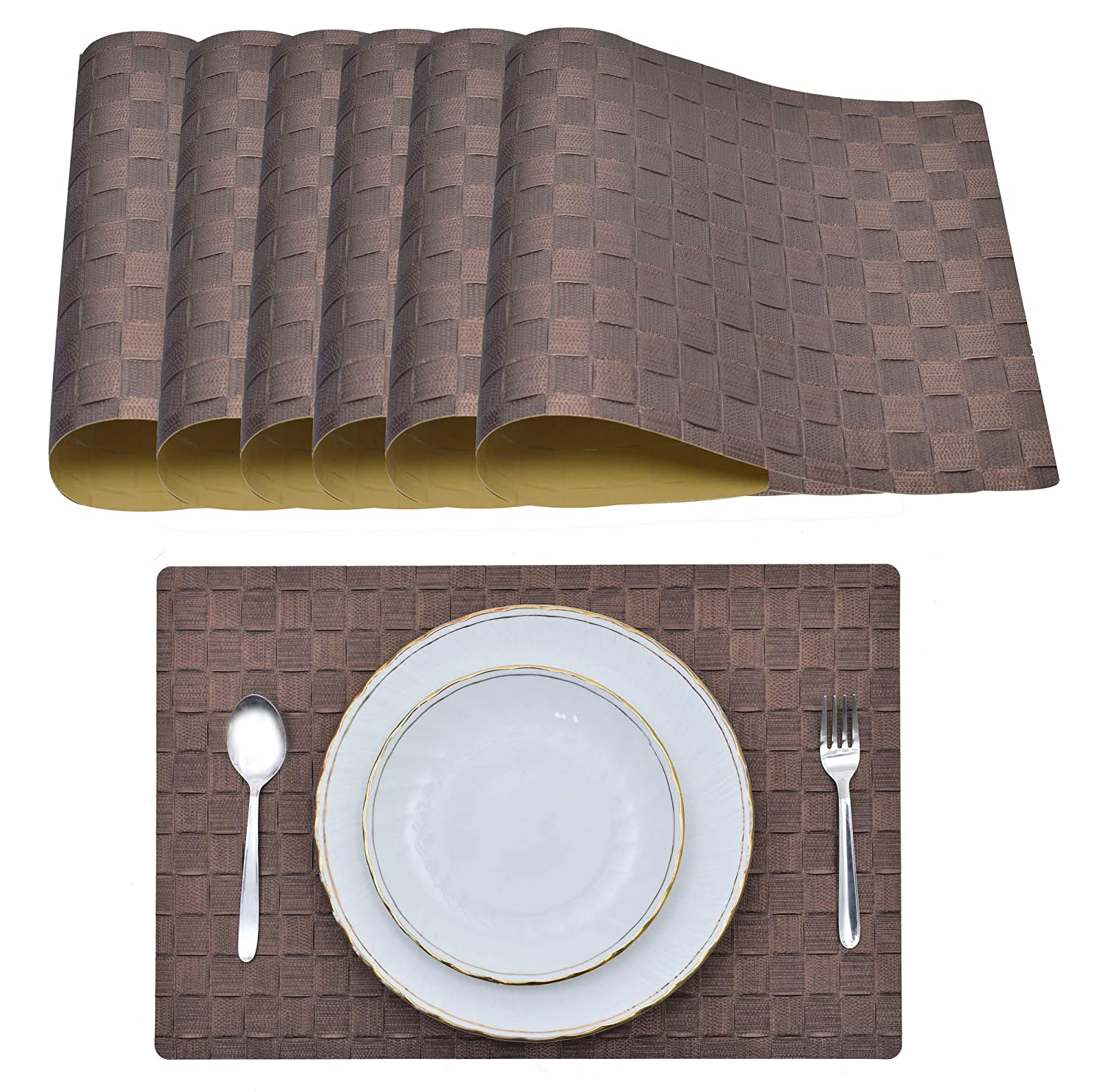Decozen Placemats for Dining Table Coffee Table Dinner Table Set of 6 Placemats Heat resistant Water Proof Easy To Clean Table Mats 18 x 12 inches
