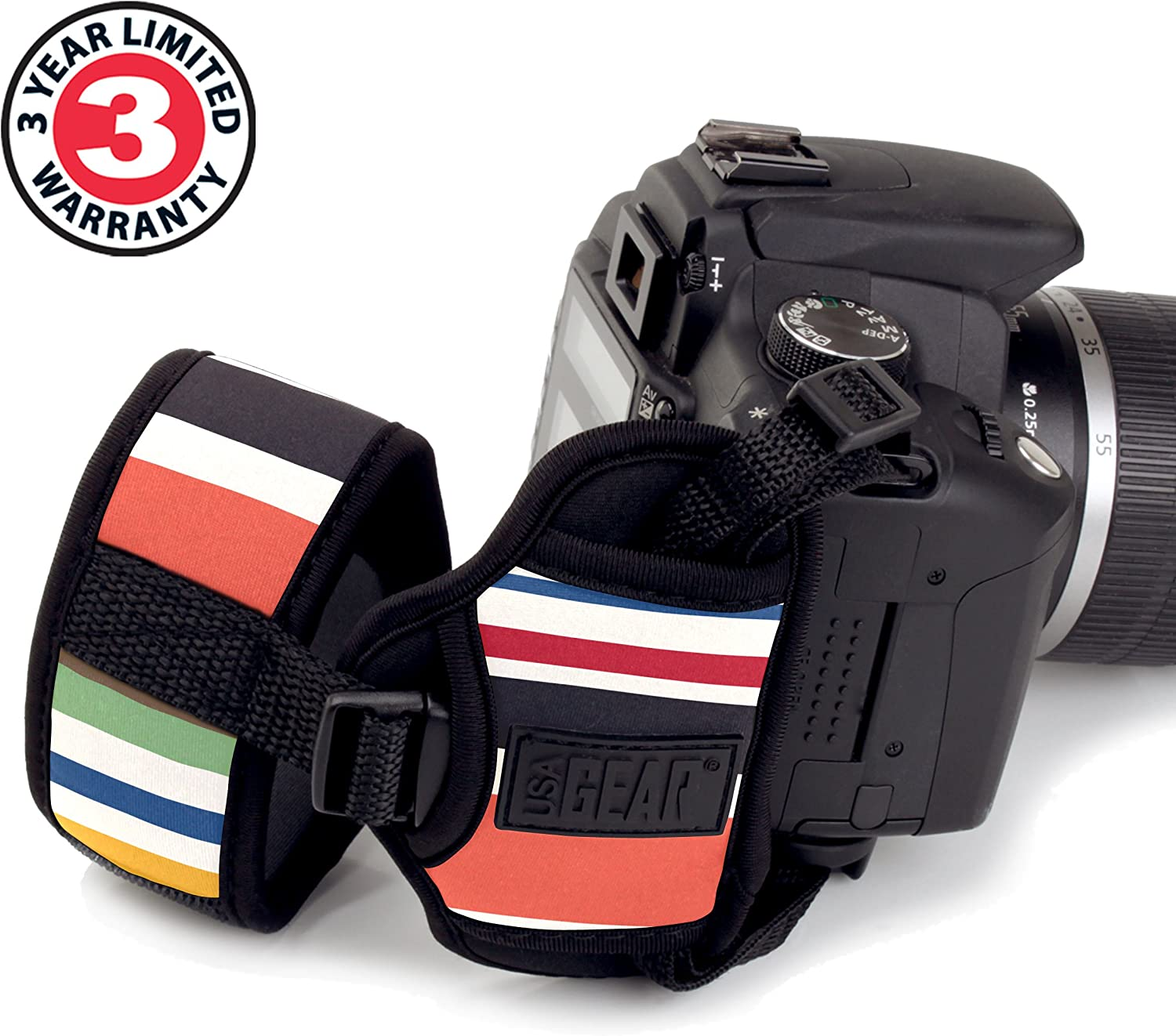 Mirrorless Cameras Compatible with Canon Fujifilm Sony Panasonic and More DSLR Secure Metal Plate Striped Nikon USA GEAR Camera Hand Wrist Strap with Comfortable Neoprene Design