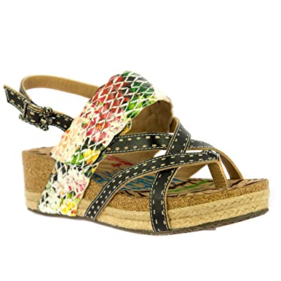 31f12da5e48 Laura Vita French Style Dino 06 Low Wedge Sandals  Amazon.co.uk ...