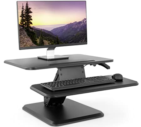 VIVO Black Small Height Adjustable Standing Desk Monitor Riser – 25 Tabletop Sit to Stand Gas Spring Workstation DESK-V001G