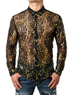 4832228f4d15 JOGAL Men's See Through Flower Lace Sheer Blouse Long Sleeve Button Down  Shirts