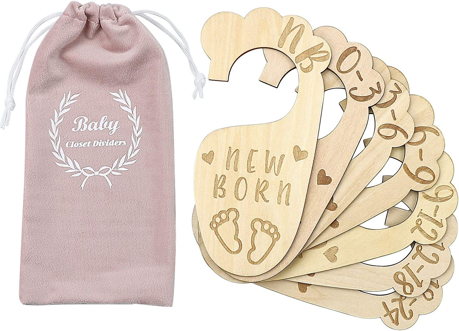 Premium Wood Baby Closet Dividers,Set of 7,from Newborn to 24 Month,Baby Closet Organizers,Nursery Decor,Baby Clothes Organizers (Style-2)