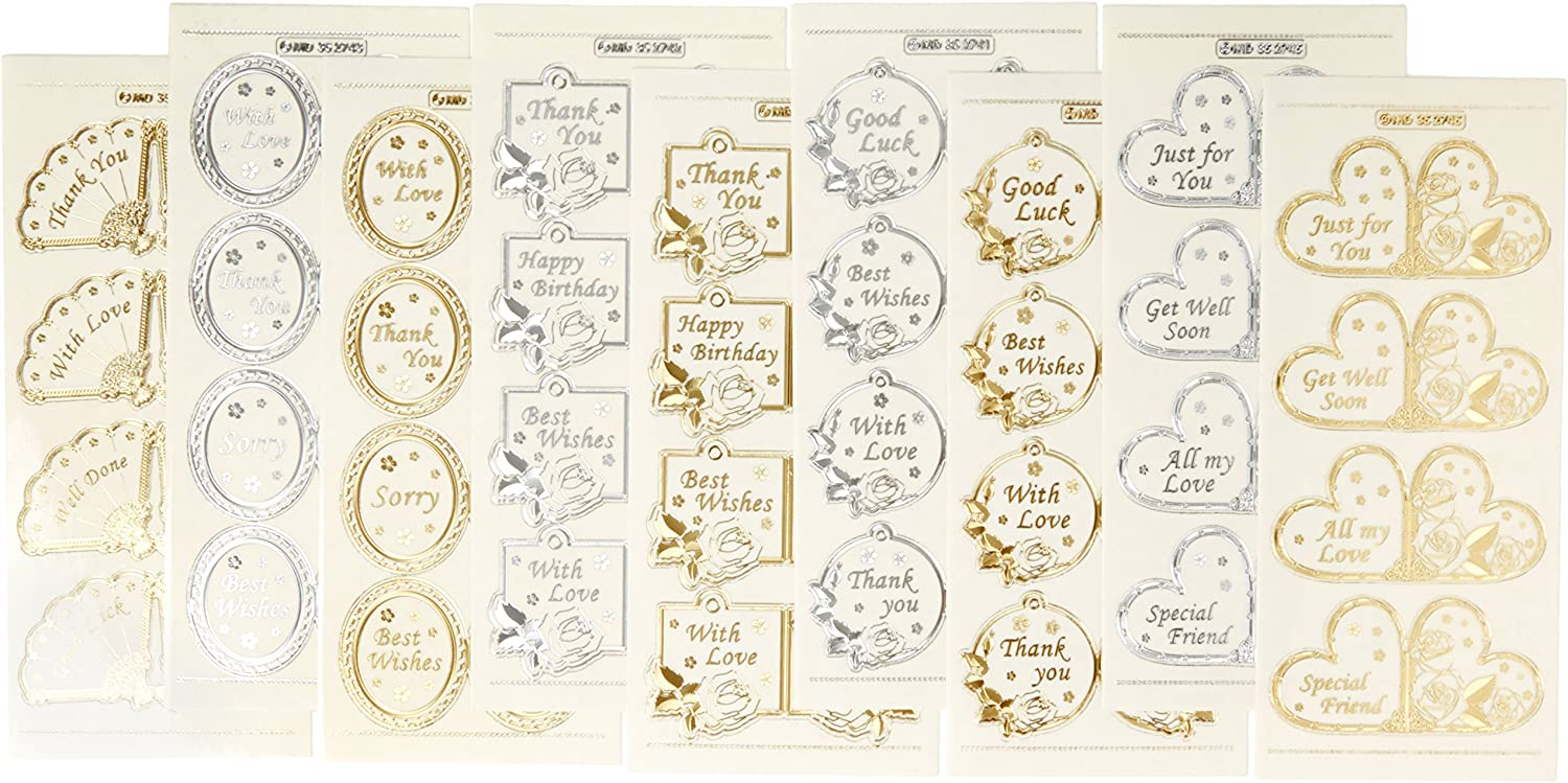 Best Wishes Pack of 2 Peel Offs Gold and Silver