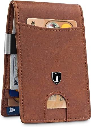 Money Clip Wallet Slim Rfid Blocking Credit Card Mini Bifold Pocket Bill Holder