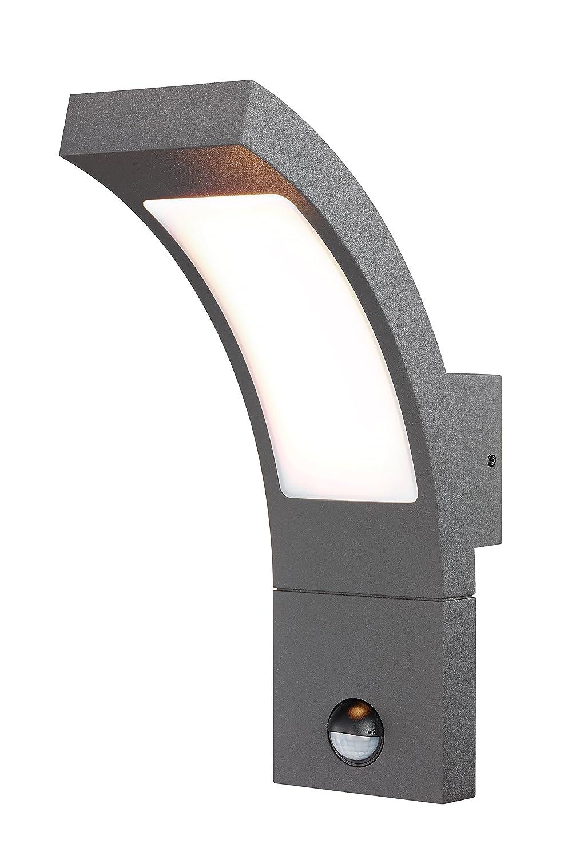 Moderne LED Sensor Außenwandleuchte Lichtfarbe warmweiß 3000K, Leistung 6,5 Watt und 520 lm Lichtstrom, Einstellbarer Bewegungsmelder mit max. 9m Reichweite, Abmessungen (B x H x T): 8,4 x 27 x 17,6 cm, Außen Wandlampe Schutzart IP54, 201