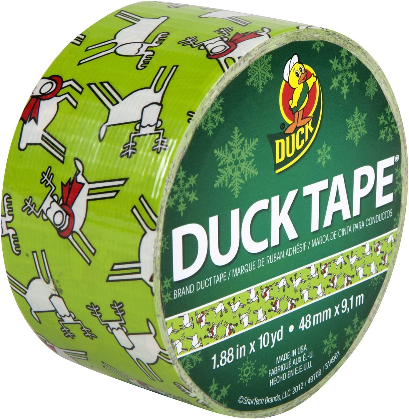 Duck Brand 280734 Printed Duct Tape, Reindeer Games, 1.88 Inches x 10 Yards, Single Roll