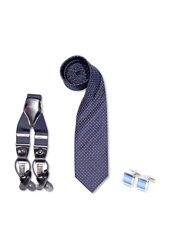 SILVIO SILVANI Pack Tirantes Lisos Azules + Corbata Azul Marino ...