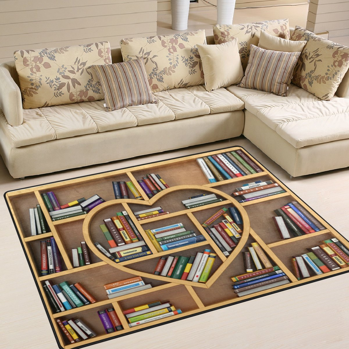 ALAZA Educational Bookshelf Area Rug Rugs for Living Room Bedroom 5'3 x 4'