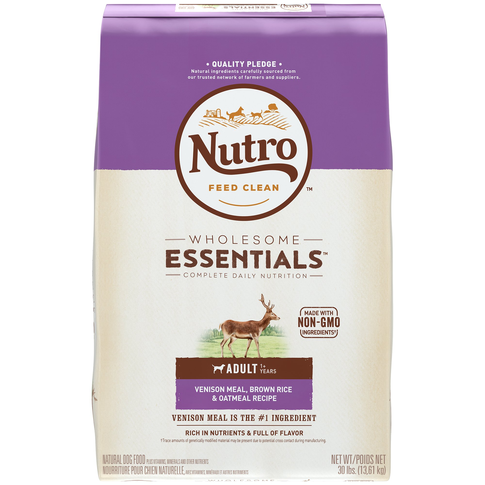 NUTRO WHOLESOME ESSENTIALS Adult Venison Meal, Brown Rice & Oatmeal Recipe Dry Dog Food Plus Vitamins, Minerals & Other Nutrients ; (1) 30-lb. bag; Rich in Nutrients and Full of Flavor