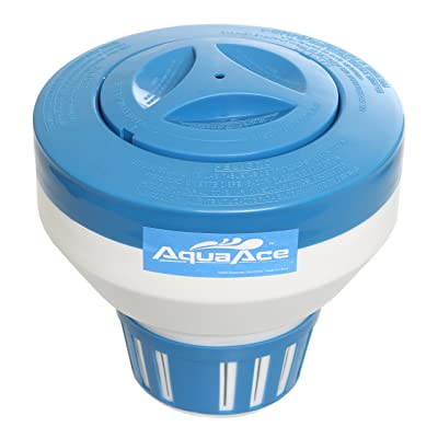 AquaAce Floating Pool Chlorine Dispenser, Premium Floater Classic Design, Chemical Holder for Chlorine Tablets up to 3 inches, Adjustable 15 Flow Vents for Increased Control : Garden & Outdoor