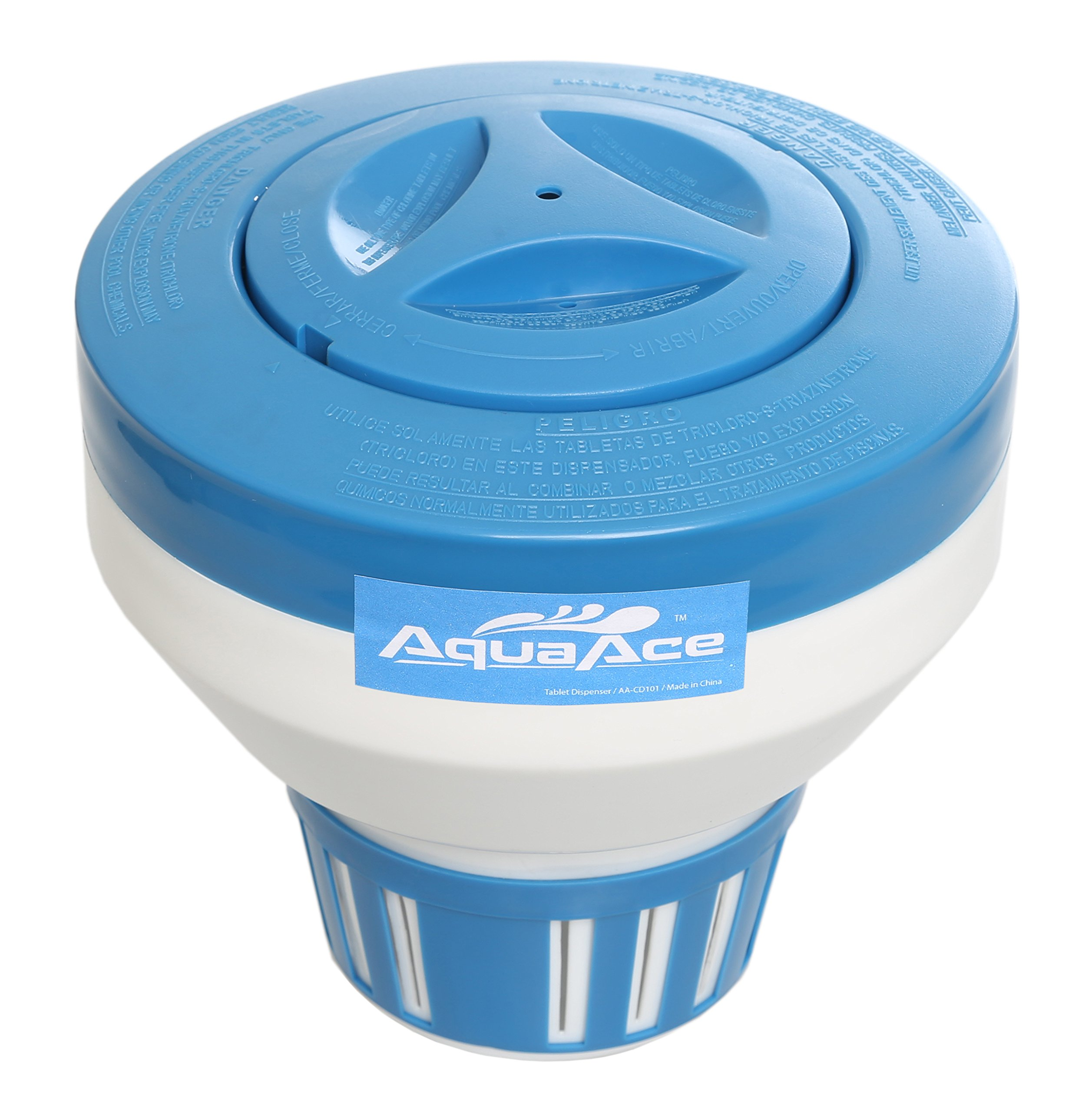 AquaAce Floating Pool Chlorine Dispenser, Premium Floater Classic Design, Chemical Holder for Chlorine Tablets up to 3 inches, Adjustable 15 Flow Vents for Increased Control by AquaAce