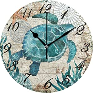 Pfrewn World Map Beach Turtle Wall Clock Silent Non Ticking Under Underwater Animal Starfish Clocks Battery Operated Vintage Desk Clock 10 Inch Quartz Analog Quiet Bedroom Living Room Home Decor