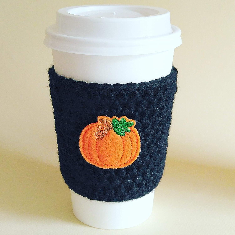 Coffee Sleeve Black with Pumpkin