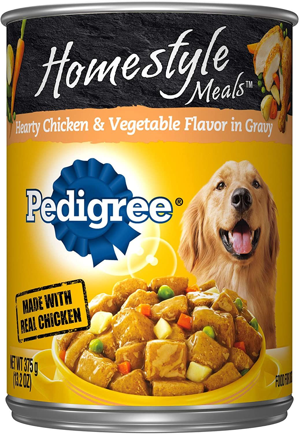 DISCONTINUED PEDIGREE Homestyle Meals Adult Canned Wet Dog Food Hearty Chicken and Vegetable Flavor in Gravy, 12 13.2 oz. Cans