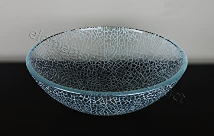 Superbe Bathroom Crackle Glass Vessel Sink + Free Chrome Pop Up Drain/ring
