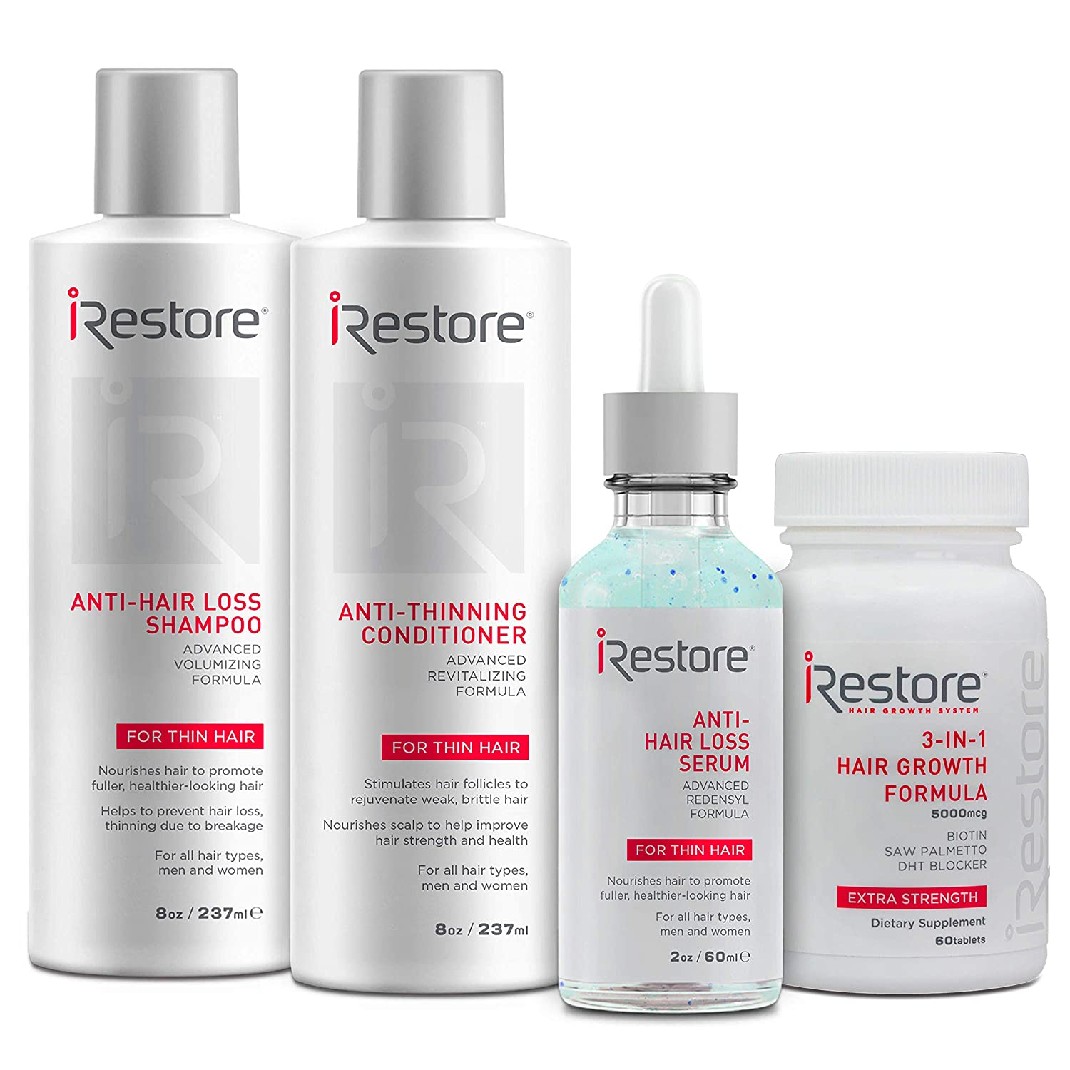 iRestore Max Growth Bundle includes the 3-in-1 Hair Growth Supplement, Anti-Hair Loss Serum, Anti-Hair Loss Shampoo and Anti-Thinning Conditioner to combat hair loss