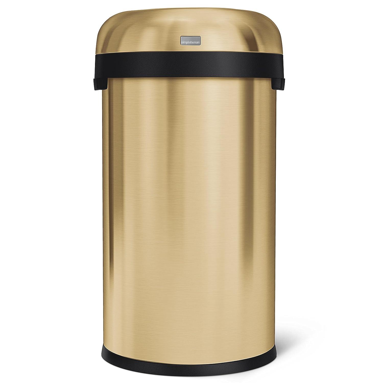 Heavy-Guage Brass Stainless Steel simplehuman 60L Bullet Open bin 10 Year Warranty