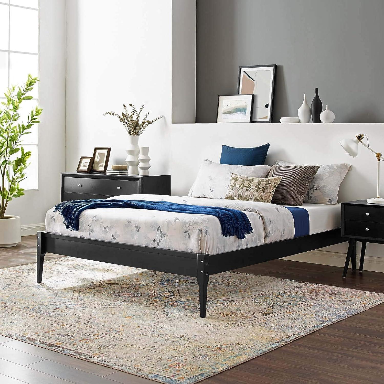 Modway MOD-6245-BLK June Full Wood Platform Bed Frame, Black