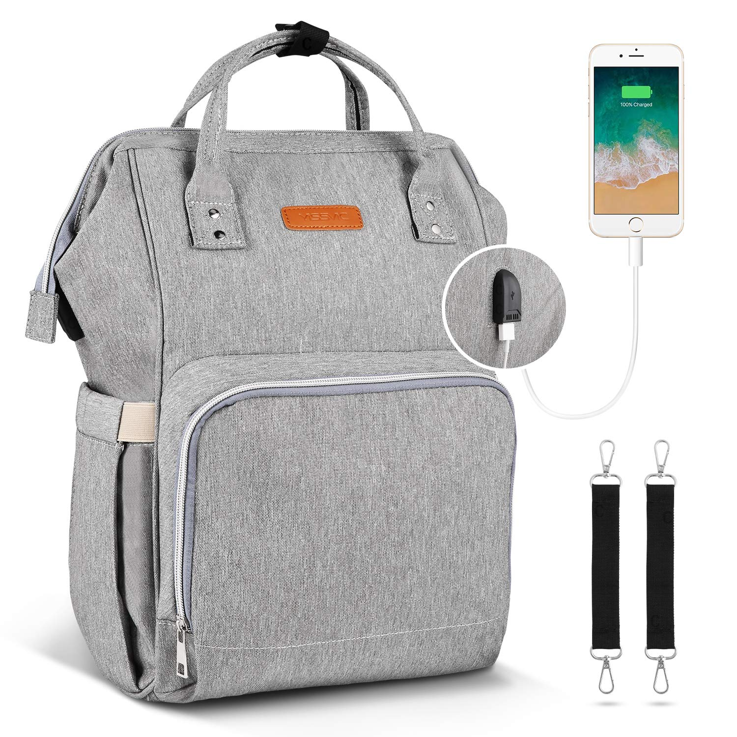 35779f27ea Amazon.com   YISSVIC Diaper Bag Backpack Multi-functional Nappy Bags with  Insulated Pockets for Baby Care