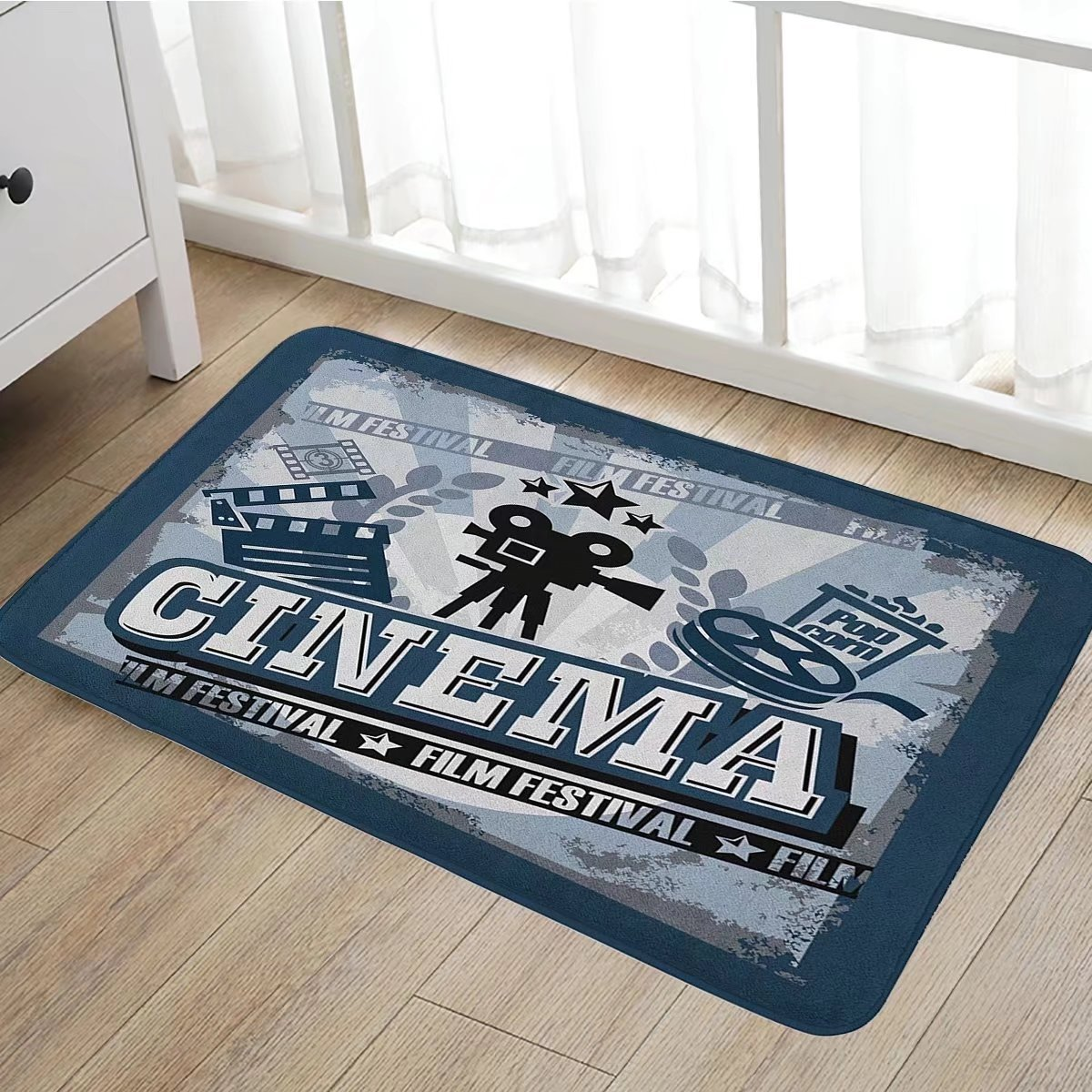 Movie Theater Bath Mat non slip Vintage Cinema Poster Design with Grunge Effect and Old Fashioned Icons Customize door mats for home Mat20''x31'' Blue Black Grey
