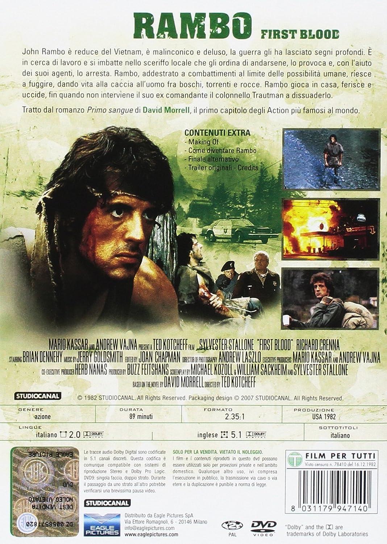 Rambo (Indimenticabili) [Italia] [DVD]: Amazon.es: David Caruso, Richard Crenna, Brian Dennehy, Jerry Goldsmith, Sylvester Stallone, Ted Kotcheff, David Caruso, Richard Crenna: Cine y Series TV