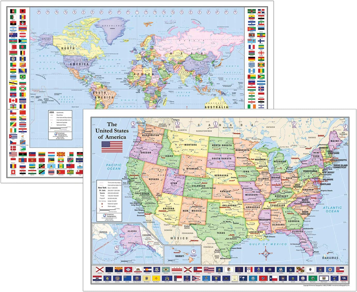 World & United States Maps with Flags for Kids (Two Maps, 36\