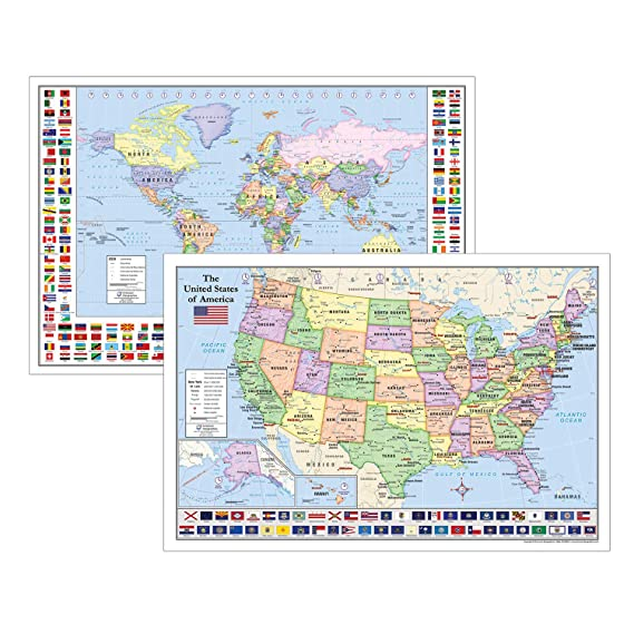 Amazon.com : World & United States Maps with Flags for Kids ...