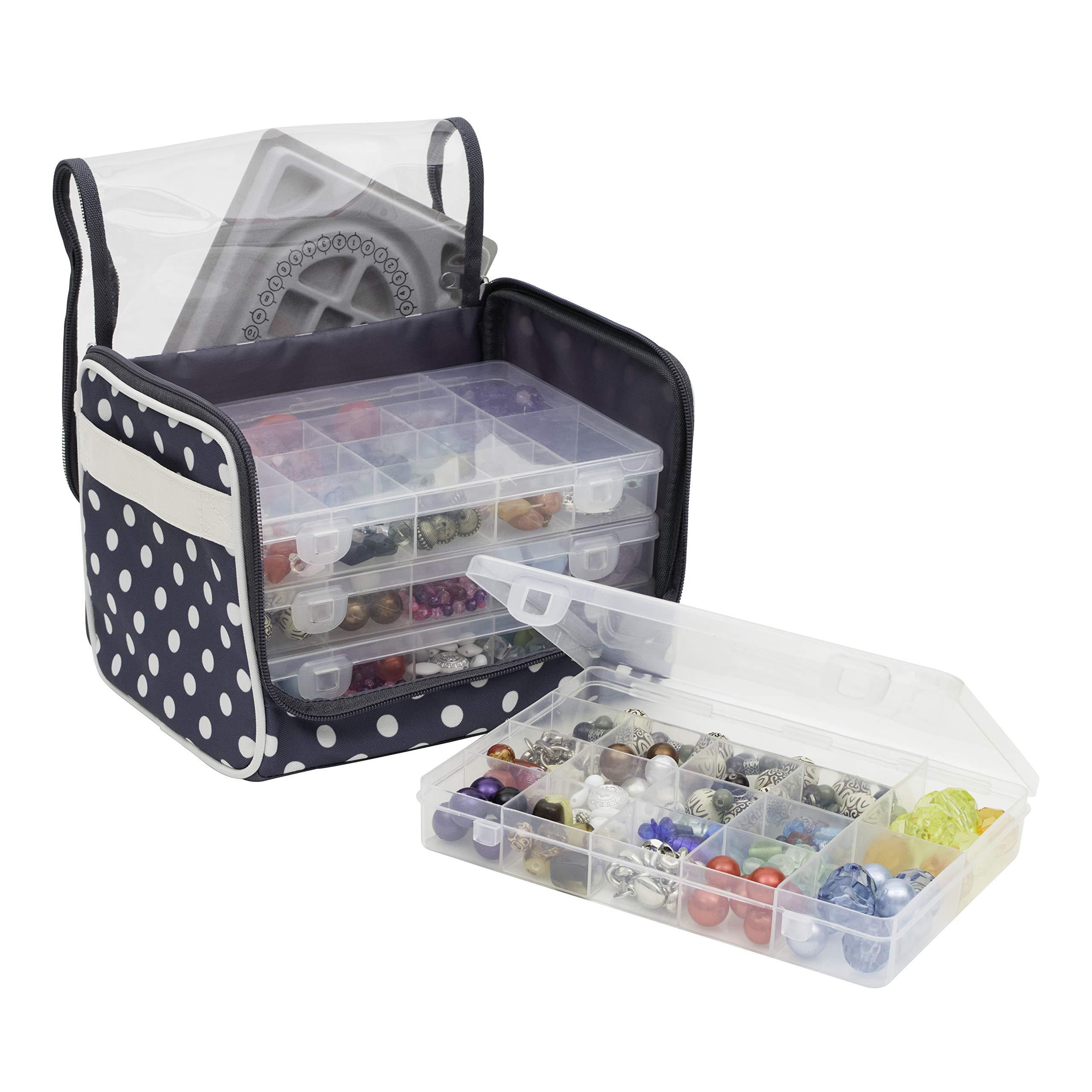 Everything Mary Bead Storage Locker with 4 Bead Organizer Boxes - Bear Storage Carrying Case with 4 Plastic Transparent Organizer Bead Tray Boxes - Storage for Mini Bead Jewelry Travel & Crafts by Everything Mary