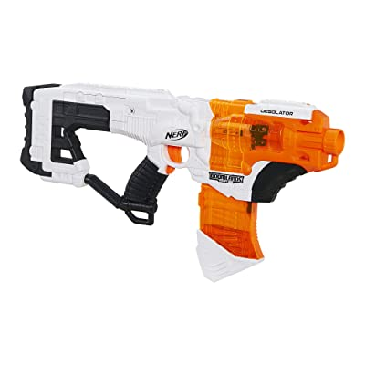 NERF Desolator Doomlands Toy Blaster with 10-Dart Clip and 10 Official Doomlands Elite Darts for Kids, Teens, and Adults: Toys & Games