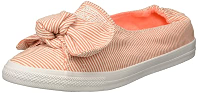 1daaae4f1ec3 Converse Women s Knot Striped Chambray Slip On Sneaker Crimson Pulse White  5 ...