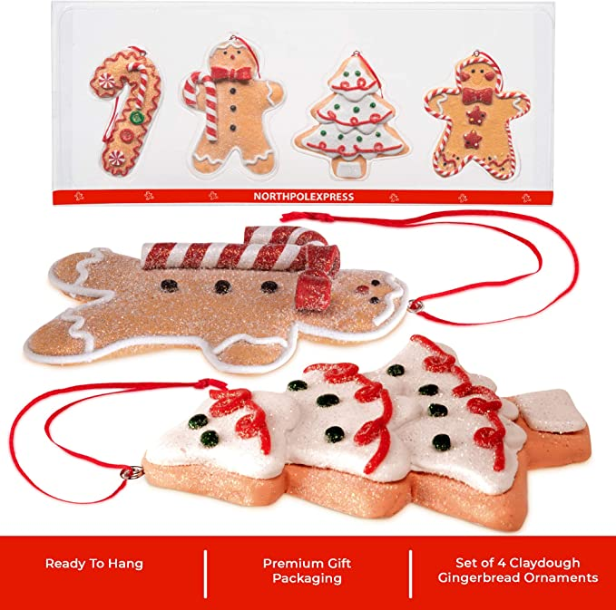 Amazon Com Gingerbread Christmas Ornaments Man Boy Girl Tree Candy Cane Cookie Rustic Christmas Decorations Set Of 4 Claydough Christmas Tree Decorations Christmas Tree Ornaments With Gift Box Kitchen Dining
