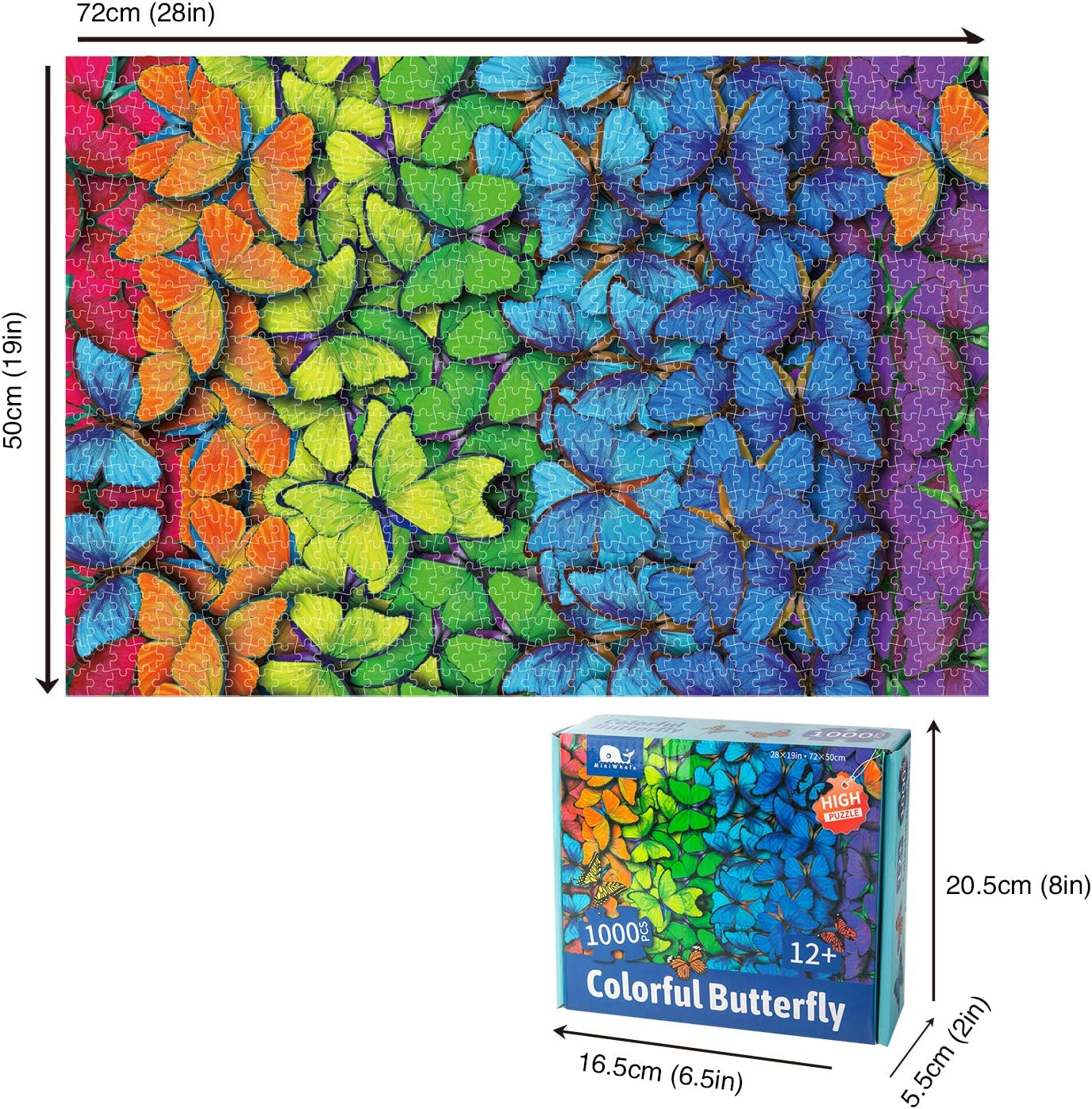 Jigsaw Puzzles 1000 Piece Butterfly Large Adults Jigsaw Fun Family Game Intellective Educational Toy,Unique Design DIY Home Decoration
