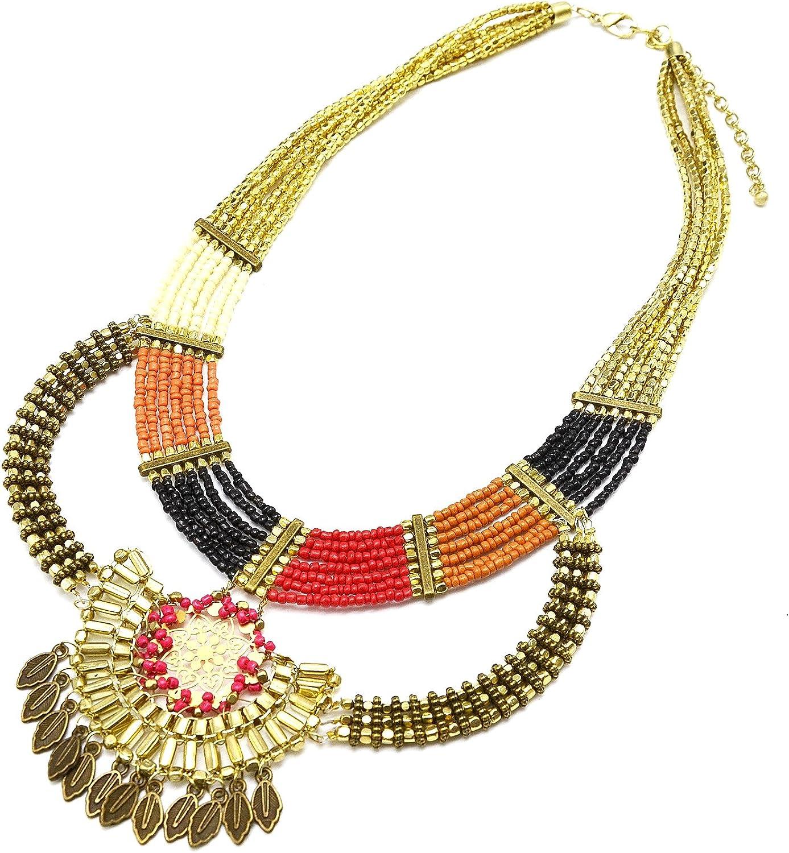 CC816-Collar de varias vueltas de perlas y Rocaille diseño étnico metal dorado-modo de fantasía